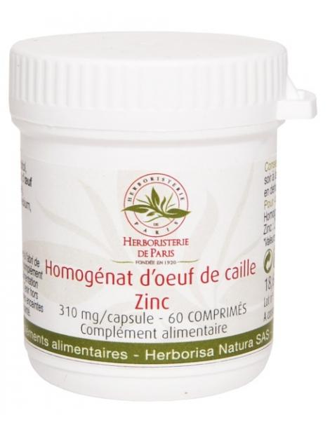 Homogénat d'Oeuf de Caille Zinc 60 Comprimés Herboristerie de Paris