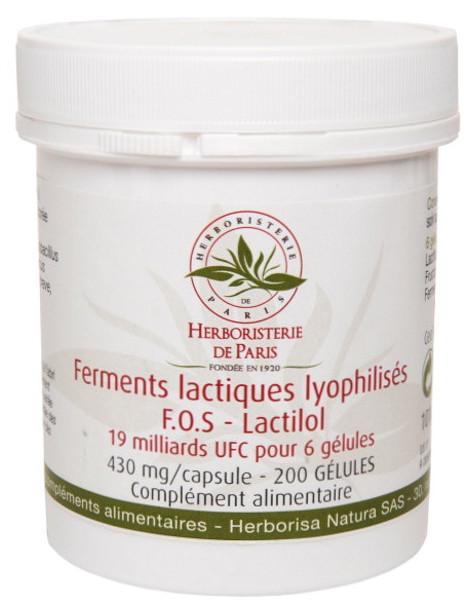 Ferments lactiques lyophilisés F.O.S Lactilol 200 Gélules Herboristerie de Paris probiotiques flore intestinale