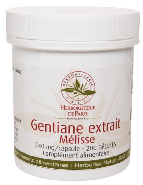 Gentiane Extrait Mélisse 200 Gélules Herboristerie de Paris