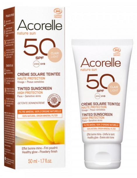 Crème Solaire teintée SPF 50 clair 50ml Acorelle maquillage bio protection solaire Herboristerie de paris