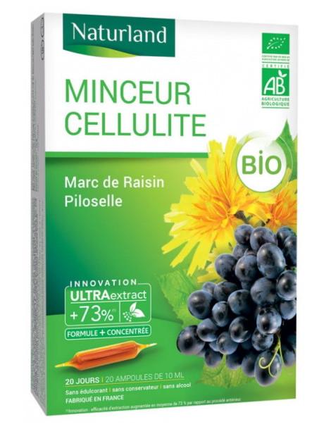 MINCEUR CELLULITE Bio Marc de Raisin Piloselle 20 ampoules de 10ml  Naturland Herboristerie de paris