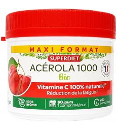 Acérola Bio 1000 Vitamine C maxi pot de 60 comprimés Super Diet