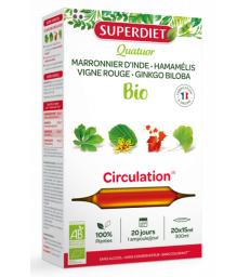 Quatuor Marronnier d'Inde Hamamélis Bio Vigne rouge Ginkgo Circulation bio 20 ampoules de 15ml Super Diet