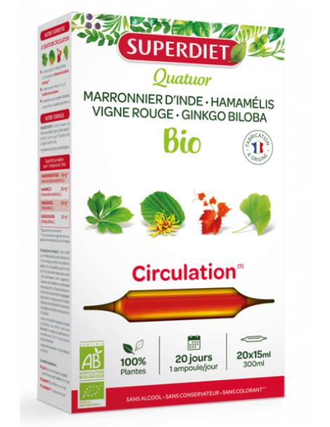 Quatuor Marronnier d'Inde Hamamélis Bio Vigne rouge Ginkgo Circulation 20 ampoules Super Diet Herboristerie de paris