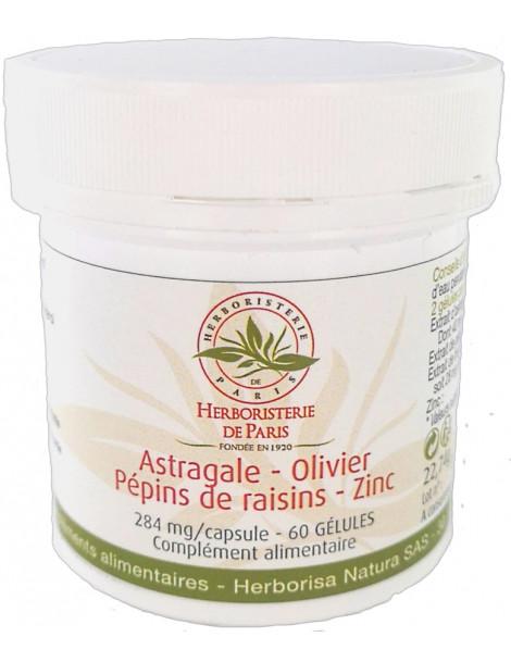 Astragale Olivier Pépins de raisins Zinc 60 gélules Herboristerie de paris 7400 unités ORAC 2 gélules antioxydants