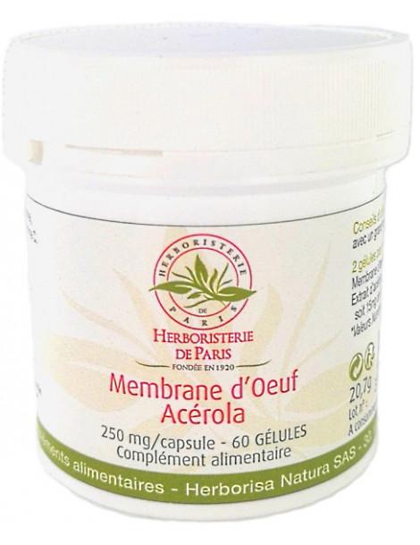 Membrane d'oeuf de poule Collagène Acérola 60 Gélules Herboristerie de Paris collagène naturel