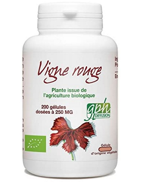 Vigne Rouge Bio 250 mg 200 gélules végétales GPH Diffusion anthocyanes vitis vinifera Herboristerie de paris