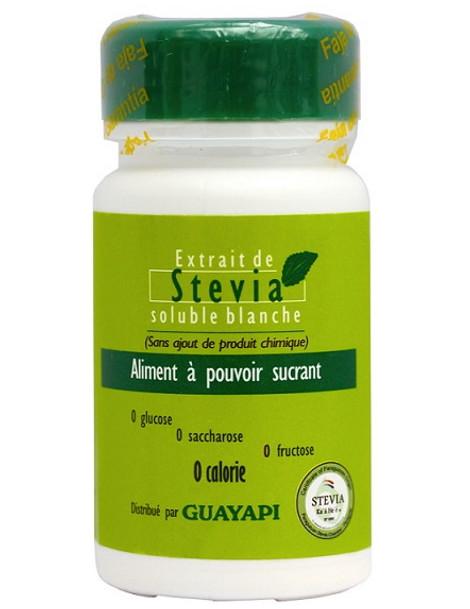 Stévia poudre blanche Rébaudioside pur 20gr Guayapi pouvoir sucrant Herboristerie de paris
