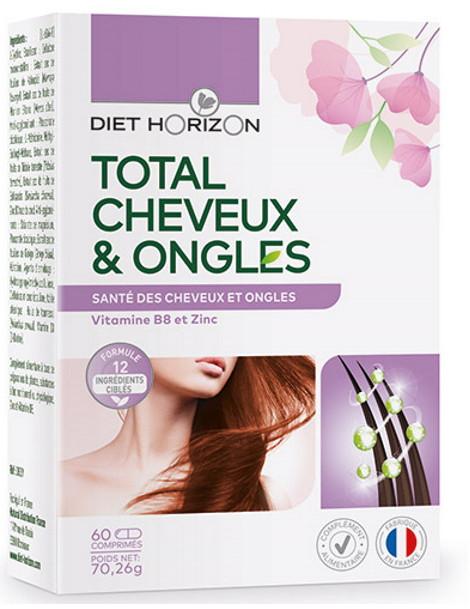 Total Cheveux et Ongles 60 comprimés Diet Horizon phanères Herboristerie de paris