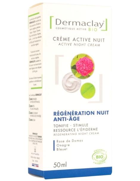 Crème active nuit régénération anti âge 50 ml Dermaclay ressource l apeau Herboristerie de paris