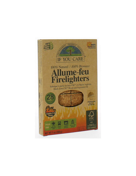 Allume feu 100% naturel 28 cubes If You Care Herboristerie de Paris