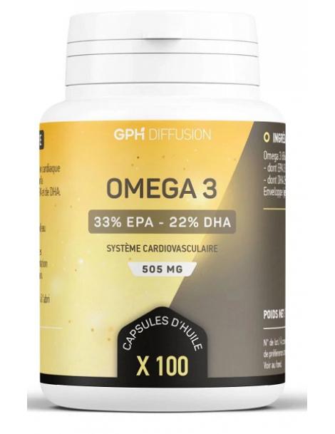 Omega 3 100 capsules de 505mg GPH Diffusion 750mg d'Oméga 3, dont 495 mg EPA et 330 mg DHA Herboristerie de paris