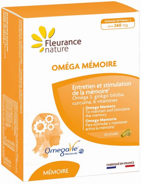 Oméga Mémoire 30 gélules et 30 capsules Fleurance nature oméga 3 DHA ginkgo biloba curcuma zinc Herboristerie de paris
