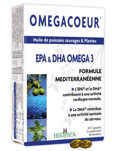 Omegacoeur EPA DHA Ail 60 capsules Holistica oméga 3 ail noix germe de blé Herboristerie de paris