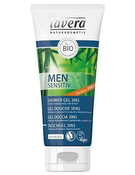 Gel douche 3 en 1 for Men Sensitiv 200 ml Lavera guarana bambou Herboristerie de paris