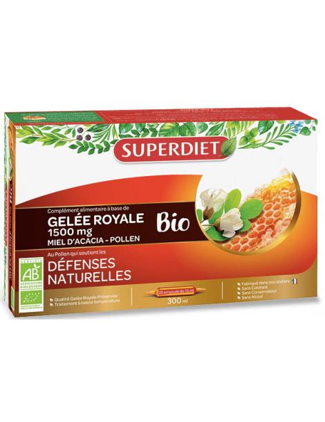 SUPER DIET Gelée Royale bio Miel Acacia Pollen 20 ampoules de 15ml Herboristerie de paris