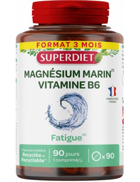 Magnesium marin Vitamine B6 90 comprimés Super Diet stress fatigue  et nervosité Herboristerie de paris