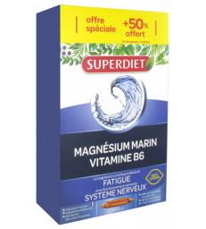 Magnésium Marin Vitamine B6 20 ampoules de 15 ml plus 10 gratuites Super Diet