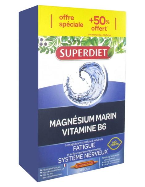 Magnésium Marin Vitamine B6 20 ampoules de 15 ml plus 10 gratuites Super Diet stress nervosité sommeil Herboristerie de paris