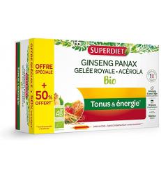 Ginseng Gelee Royale Acerola bio 20 ampoules et 10 offertes Super Diet