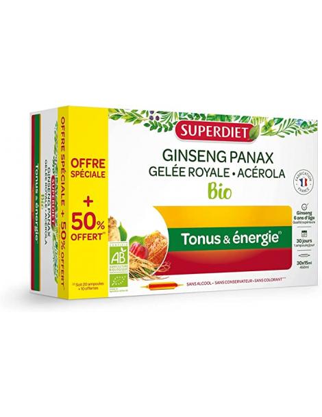 Ginseng Gelee Royale Acerola bio 20 ampoules et 10 offertes Super Diet stress fatigue Herboristerie de paris