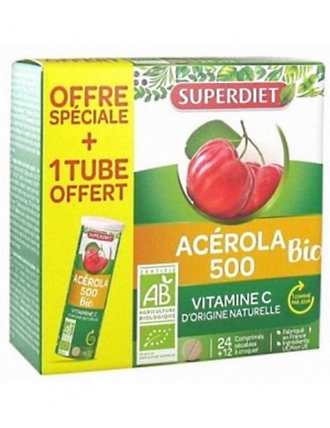 Acérola 500 bio + 1 tube OFFERT 36 comprimés Super Diet Herboristerie de Paris
