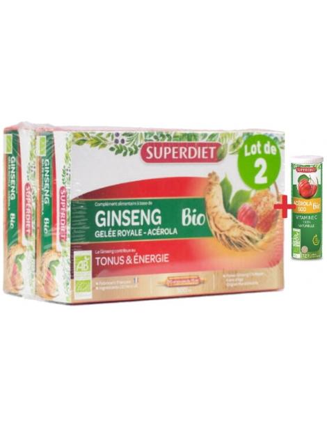 Ginseng Gelée Royale Acérola bio 40 ampoules 1 acerola gratuit Super Diet énergie Promo Herboristerie de paris
