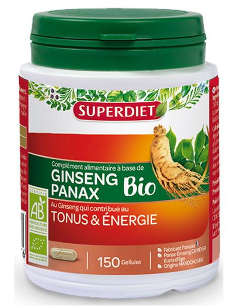 Ginseng Bio Tonus et énergie 150 gélules Super Diet anti stress anti-coup de fatigue Herboristerie de paris