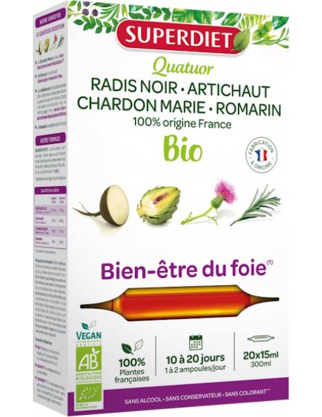 Quatuor Radis Noir Artichaut Chardon Marie Romarin 20 Ampoules Super Diet protection du foie Herboristerie de paris