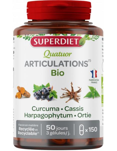 Quatuor Curcuma Cassis Harpagophytum Ortie 150 gelules Super Diet mobilité articulaire Herboristerie de paris