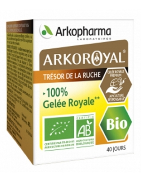 Arkoroyal Gelée Royale 100 pour cent  PURE Bio pot Pot de 40gr Arkopharma Herboristerie de Paris