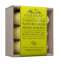 Barquette de 3 Savonnettes Huile d'Olive 3x150gr Oleanat