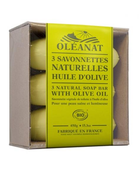 Barquette de 3 Savonnettes Huile d'Olive 3x150gr Oleanat Herboristerie de Paris