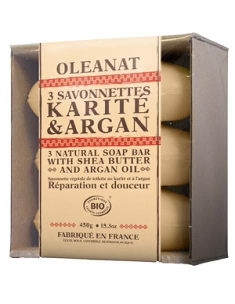 Barquette de 3 Savonnettes Karité Argan 3x150gr Oleanat Herboristerie de Paris