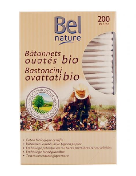 Bâtonnets d'oreille boîte distributrice coton bio 200 unités Bel Nature