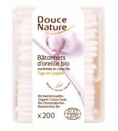 Bâtonnets d'oreille coton bio 200 unités Douce Nature