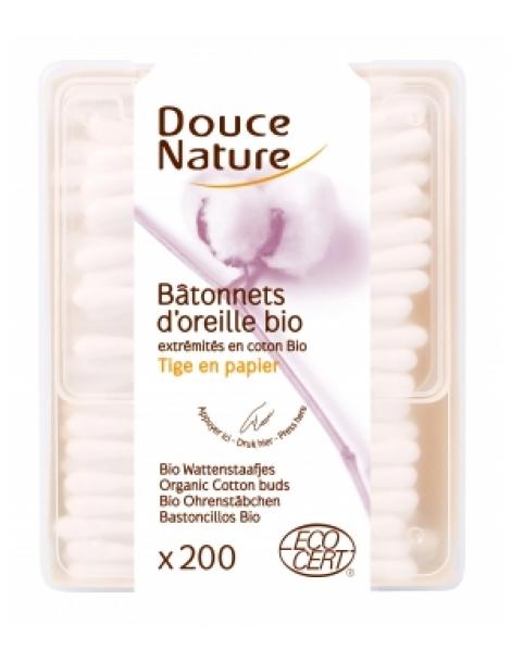 Bâtonnets d'oreille coton bio 200 unités Douce Nature Herboristerie de Paris