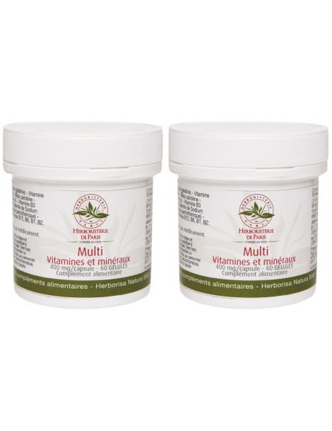 Lot de 2 Multi Vitamines Minéraux 2x60 gélules 2 mois de cure Herboristerie de paris vitalité tonus immunité