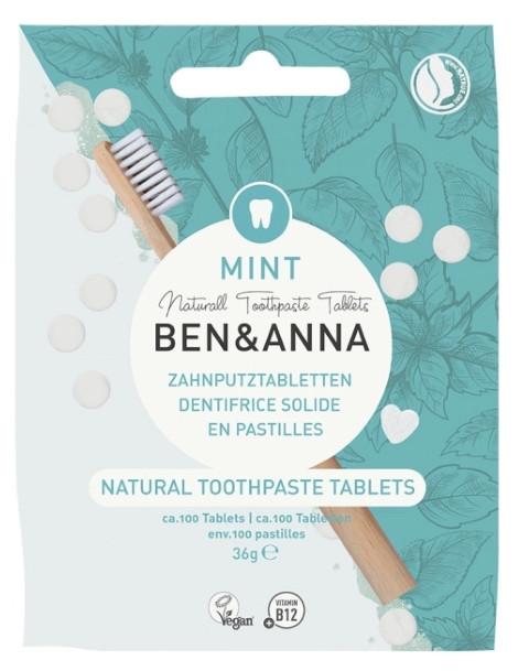 Dentifrice solide goût menthe 100 pastilles sans fluor 36 gr Ben et Anna pastilles fondantes Herboristerie de paris
