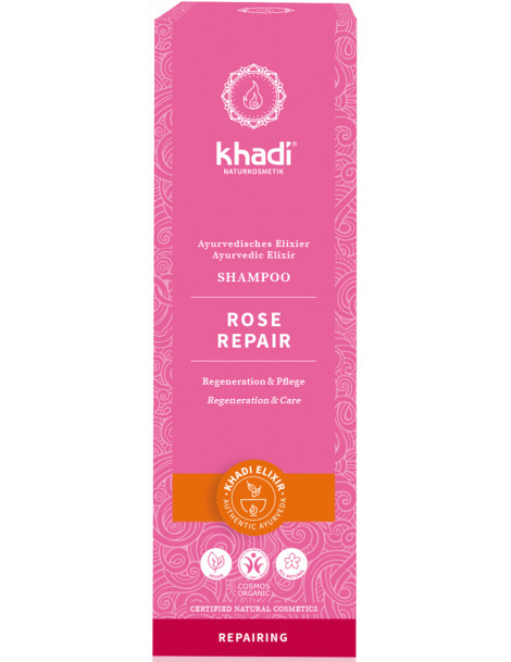 Shampoing ayurvédique Rose 210ml Khadi cheveux secs et abimés Herboristerie de paris
