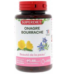 Huiles Onagre bio Bourrache bio 200 capsules Super Diet