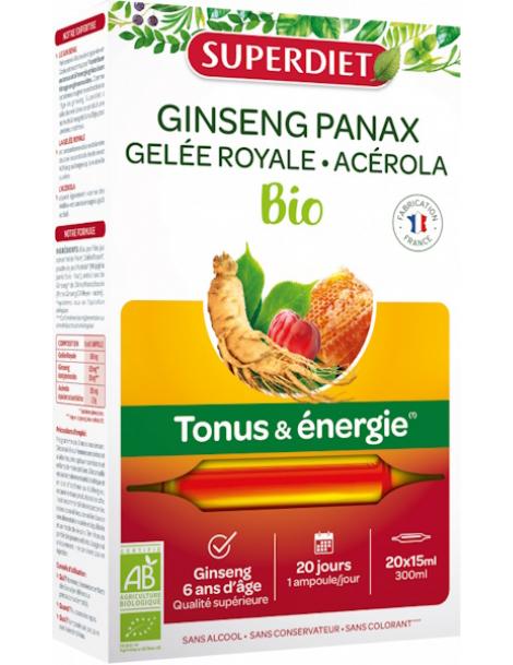 Ginseng Gelee Royale Acerola bio 20 ampoules de 15ml Super Diet stress fatigue Herboristerie de paris