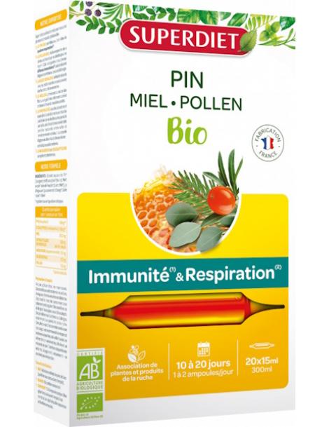 Sève impériale défenses confort respiratoire Bio 20 ampoules Super Diet gelée royale propolis Herboristerie de paris