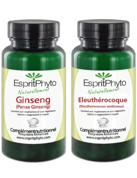 Duo Ginseng Eleuthérocoque 2x90 gélules Espritphyto ginseng panax et ginseng russe Herboristerie de paris