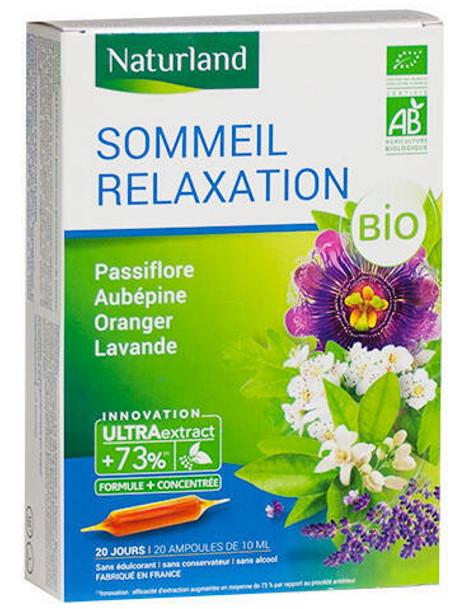Sommeil Relaxation Passiflore Aubépine Oranger Lavande Bio 20 ampoules de 10ml Naturland Herboristerie de paris