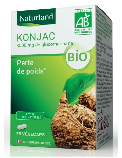 Konjac bio 75 gélules végécaps Naturland glucomananne régime poids Herboristerie de paris