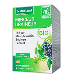 Minceur drainage Bio (Thé vert, Marc de raisin, Bouleau, Queue de cerise) 90 comprimés Naturland