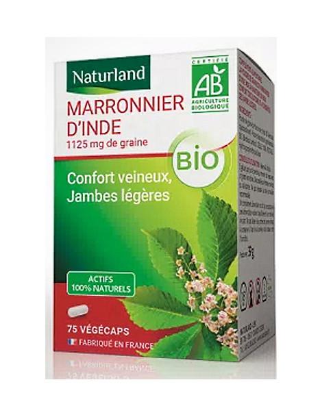 Marronnier d'Inde bio 75 Gélules Végécaps Naturland complexe vitaminique PP Herboristerie de paris