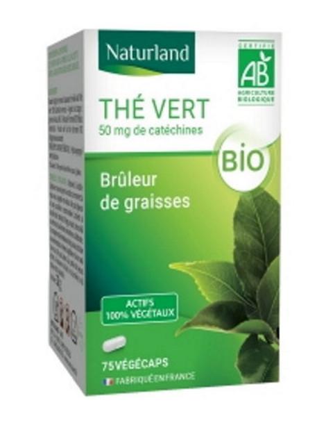 Thé vert bio 75 Gélules Végécaps Naturland bruleur Minceur Herboristerie de paris