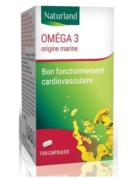 Oméga 3 180 Capsules Naturland acides gras essentiels Herboristerie de paris
